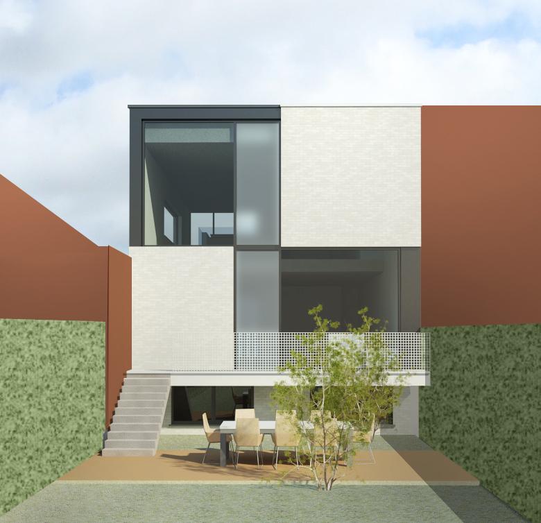 Woningen nieuwbouw rijwoning s3architecten mechelen for Moderne rijwoning